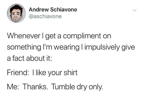 your shirt: Andrew Schiavone  @aschiavone  Whenever I get a compliment on  something I'm wearing impulsively give  a fact about it:  Friend: I like your shirt  Me: Thanks. Tumble dry only