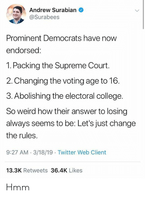 electoral college: Andrew Surabian  @Surabees  Prominent Democrats have now  endorsed:  1. Packing the Supreme Court.  2.Changing the voting age to 16.  3. Abolishing the electoral college.  So weird how their answer to losing  always seems to be: Let's just change  the rules  9:27 AM.3/18/19 Twitter Web Client  13.3K Retweets 36.4K Likes Hmm