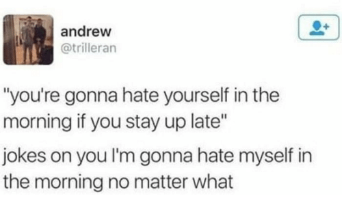 """Jokes, You, and Stay: andrew  @trilleran  """"you're gonna hate yourself in the  morning if you stay up late""""  jokes on you I'm gonna hate myself in  the morning no matter what"""