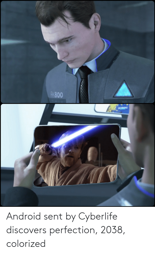 Android: Android sent by Cyberlife discovers perfection, 2038, colorized