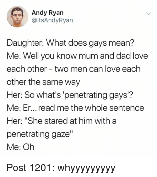 "Dad, Love, and Memes: Andy Ryan  @ltsAndyRyan  Daughter: What does gays mean?  Me: Well vou know mum and dad love  each other - two men can love each  other the same way  Her: So what's'penetrating gays?  Me: Er... read me the whole sentence  Her: ""She stared at him with a  penetrating gaze""  Me: Oh Post 1201: whyyyyyyyyy"