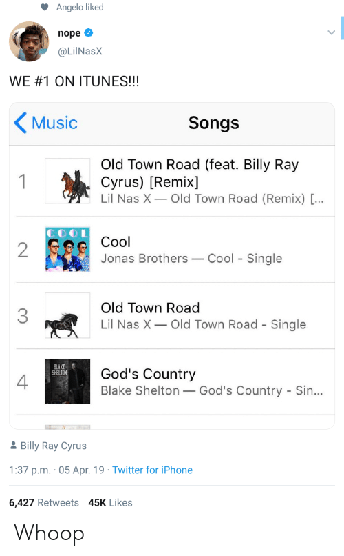 Lil Nas X: Angelo liked  nope  @LilNasX  WE#1 ON ITUNES!!!  Music  Songs  Old Town Road (feat. Billy Ray  Cyrus) [Remix]  Lil Nas X Old Town Road (Remix) [...  1  Cool  2  Jonas Brothers  Cool Single  Old Town Road  3  Lil Nas X  Old Town Road - Single  BLAKE  SHELTON  God's Country  Blake Shelton God's Country - Sin...  2Billy Ray Cyrus  1:37 p.m. 05 Apr. 19 Twitter for iPhone  6,427 Retweets 45K Likes Whoop