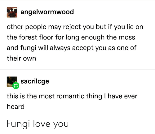 you lie: angelwormwood  other people may reject you but if you lie on  the forest floor for long enough the moss  and fungi will always accept you as one of  their own  sacrilcge  this is the most romantic thing I have ever  heard Fungi love you