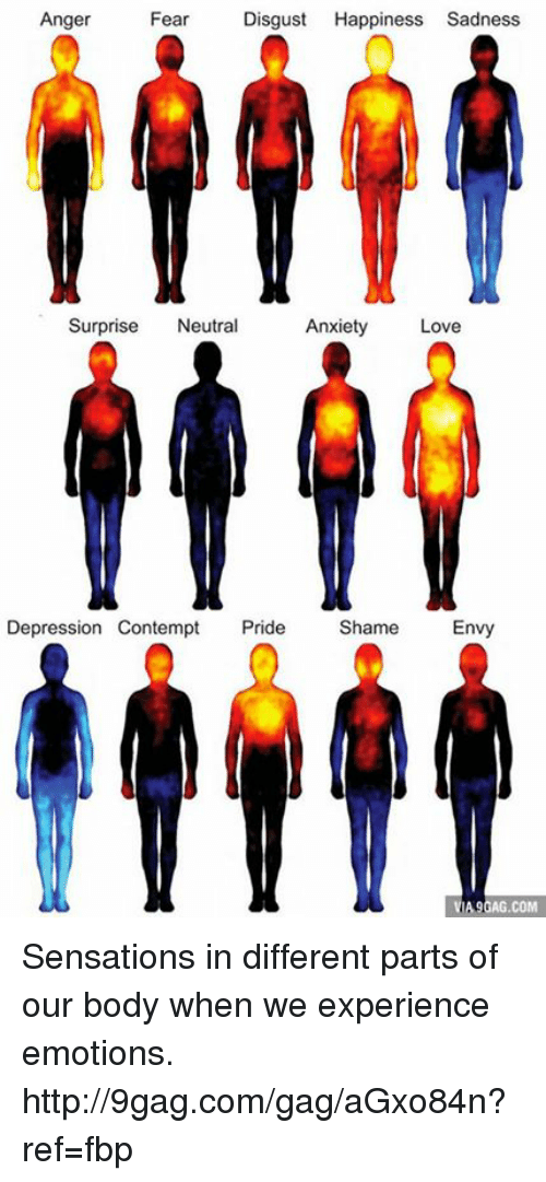 Contemption: Anger  Fear  Disgust  Happiness Sadness  Surprise  Neutral  Anxiety  Love  Depression Contempt  Pride  Shame  Envy  A9GAG.COM Sensations in different parts of our body when we experience emotions. http://9gag.com/gag/aGxo84n?ref=fbp