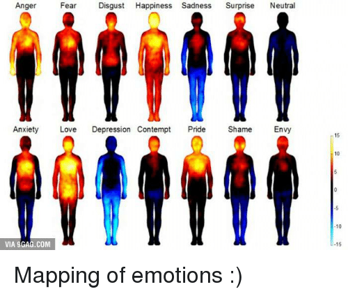 Contemption: Anger  Fear  Disgust Happiness Sadness  Surprise  Neutral  Anxiety  Love  Depression Contempt  Pride  Shame  Envy  VIA 9GAG.COM  10  15 Mapping of emotions :)