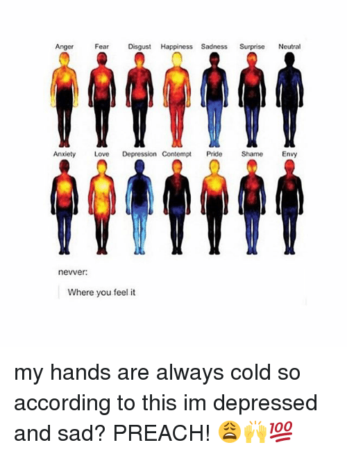 Contemption: Anger  Fear  Disgust  Happiness Sadness  Surprise  Neutral  Anxiety  Love Depression Contempt  Pride  Shame  Envy  nevver:  Where you feel it my hands are always cold so according to this im depressed and sad? PREACH! 😩🙌💯