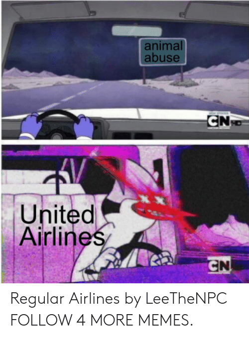 united airlines: animal  abuse  CN  XX  United  Airlines  CN Regular Airlines by LeeTheNPC FOLLOW 4 MORE MEMES.