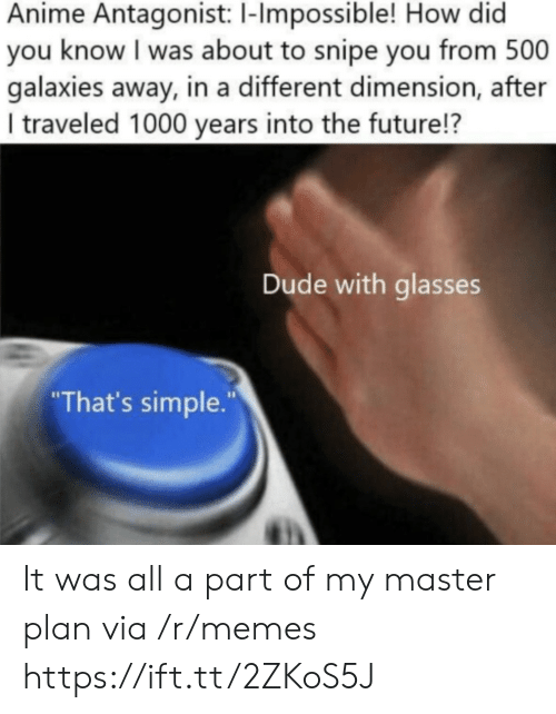 "You Know I: Anime Antagonist: 1-Impossible! How did  you know I was about to snipe you from 500  galaxies away, in a different dimension, after  I traveled 1000 years into the future!?  Dude with glasses  ""That's simple."" It was all a part of my master plan via /r/memes https://ift.tt/2ZKoS5J"