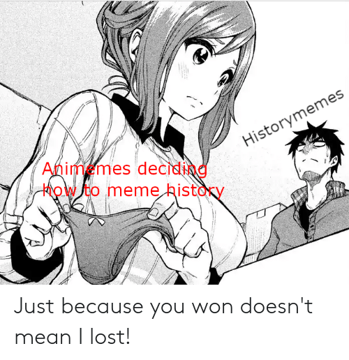 Meme, Lost, and History: Animemes deciding  how to meme history  Historymemes Just because you won doesn't mean I lost!