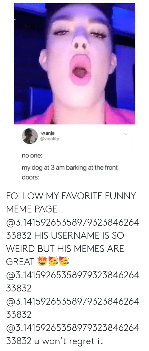 meme page: anja  @vidality  no one:  my dog at 3 am barking at the front  doors: FOLLOW MY FAVORITE FUNNY MEME PAGE @3.1415926535897932384626433832 HIS USERNAME IS SO WEIRD BUT HIS MEMES ARE GREAT 🤩🥳🥳 @3.1415926535897932384626433832 @3.1415926535897932384626433832 @3.1415926535897932384626433832 u won't regret it