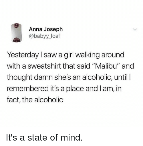 "malibu: Anna Joseph  @babyy_loaf  Yesterday I saw a girl walking around  with a sweatshirt that said ""Malibu"" and  thought damn she's an alcoholic, until I  remembered it's a place and I am, in  fact, the alcoholic It's a state of mind."