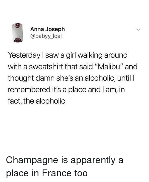 "malibu: Anna Joseph  @babyy_loaf  Yesterday l saw a girl walking around  with a sweatshirt that said ""Malibu"" and  thought damn she's an alcoholic, until l  remembered it's a place and I am, in  fact, the alcoholic Champagne is apparently a place in France too"