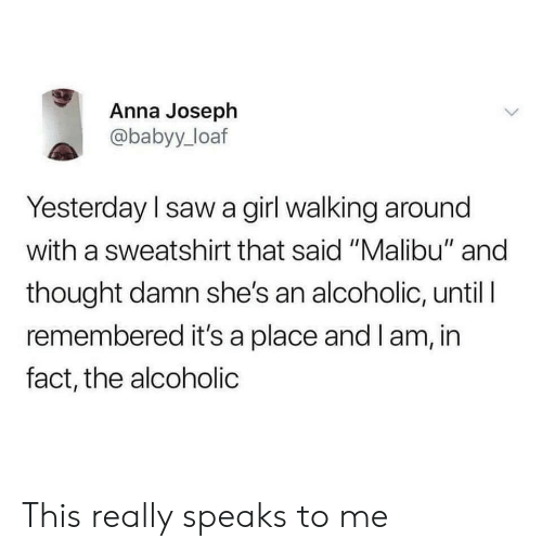 "malibu: Anna Joseph  @babyy_loaf  Yesterday l saw a girl walking around  with a sweatshirt that said ""Malibu"" and  thought damn she's an alcoholic, until I  remembered it's a place and I am, in  fact, the alcoholic This really speaks to me"