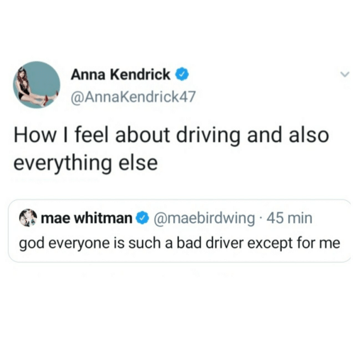 feel: Anna Kendrick  @AnnaKendrick47  How I feel about driving and also  everything else  mae whitman O @maebirdwing · 45 min  god everyone is such a bad driver except for me