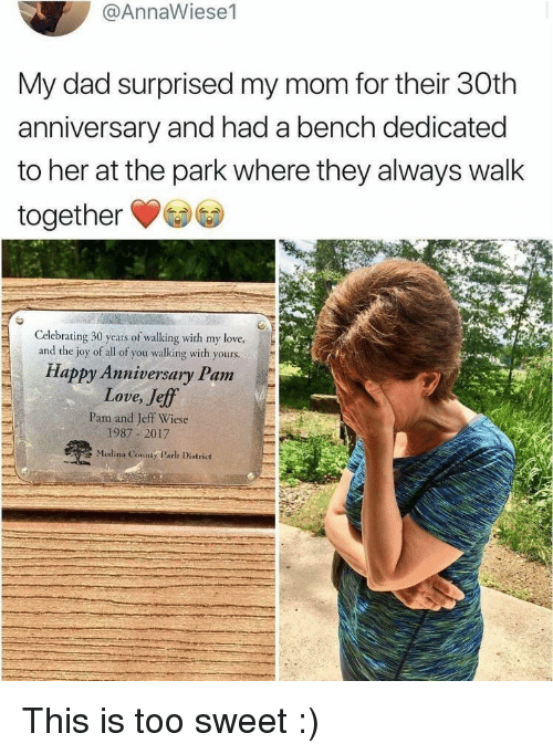 Dad, Love, and Happy: @AnnaWiese1  My dad surprised my mom for their 30th  anniversary and had a bench dedicated  to her at the park where they always walk  together  Celebrating 30 years of walking with my love,  and the joy of all of you walking with yours  Happy Anniversary Pam  Love, Jeff  Pam and Jeff Wiese  1987 2017  Medina County Parlk District This is too sweet :)