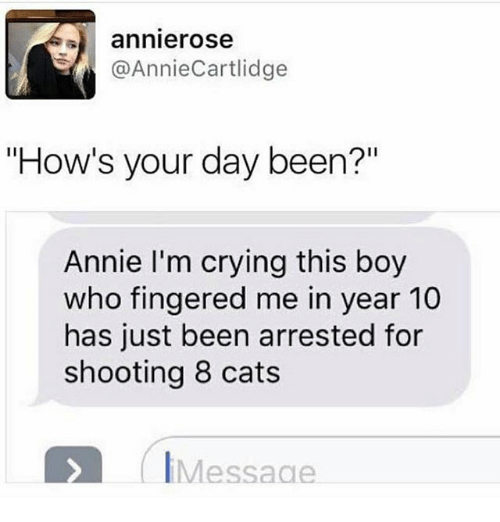 """Fingered: annierose  @AnnieCartlidge  """"How's your day been?""""  Annie I'm crying this boy  who fingered me in year 10  has just been arrested for  shooting 8 cats  IMessage"""