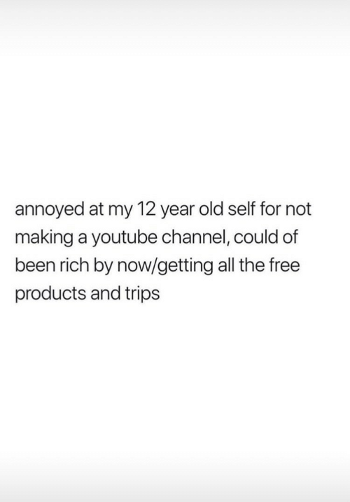 12 Year: annoyed at my 12 year old self for not  making a youtube channel, could of  been rich by now/getting all the free  products and trips