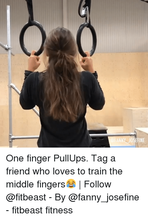tag a friend who: ANNY JOSEFINE One finger PullUps. Tag a friend who loves to train the middle fingers😂 | Follow @fitbeast - By @fanny_josefine - fitbeast fitness