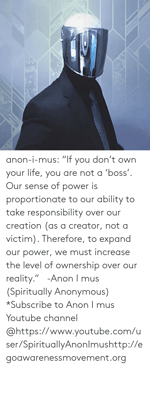"youtube.com: anon-i-mus:                   ""If you don't own your life, you are not a 'boss'. Our sense of power is proportionate to our ability to take responsibility over our creation (as a creator, not a victim). Therefore, to expand our power, we must increase the level of ownership over our reality.""   -Anon I mus (Spiritually Anonymous)    *Subscribe to Anon I mus Youtube channel @https://www.youtube.com/user/SpirituallyAnonImushttp://egoawarenessmovement.org"