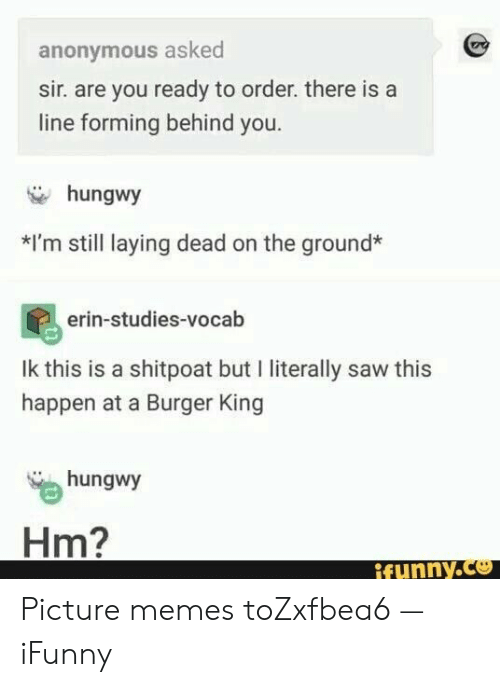 I Literally: anonymous asked  sir. are you ready to order. there is a  line forming behind you.  hungwy  *I'm still laying dead on the ground*  erin-studies-vocab  Ik this is a shitpoat but I literally saw this  happen at a Burger King  hungwy  Hm?  ifynny.co Picture memes toZxfbea6 — iFunny