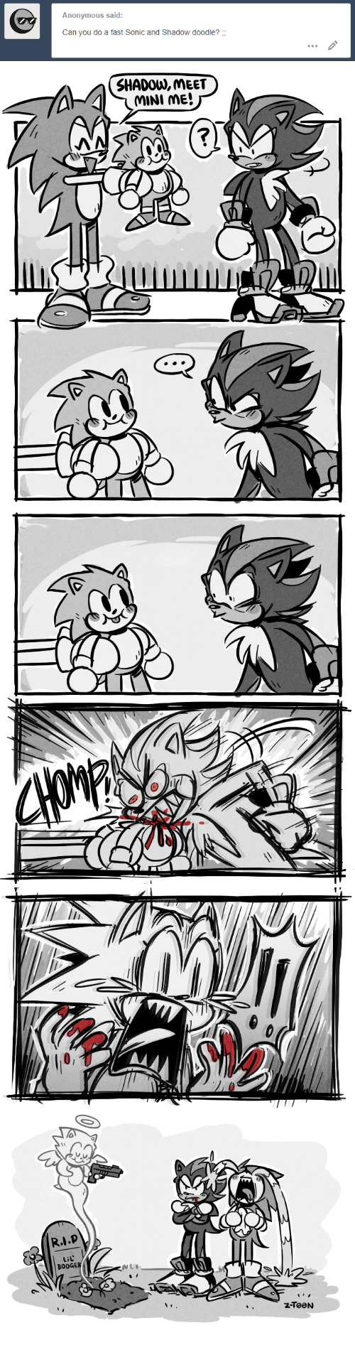 Anonymous, Doodle, and Sonic: Anonymous said:  Can you do a fast Sonic and Shadow doodle?   SHADOW, MEET   Lil  BOOGE
