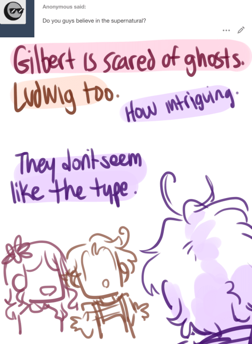 type: Anonymous said:  Do you guys believe in the supernatural?   Glbect is scared of ghosts  Ludwig too  How mtigung  They donkseem  lke the type