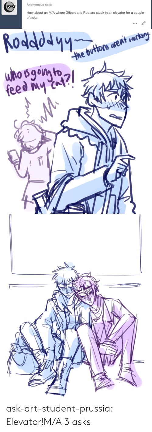 Target, Tumblr, and Anonymous: Anonymous said:  How about an M/A where Gilbert and Rod are stuck in an elevator for a couple  of asks   the Outbrs arent erty  feed at? ask-art-student-prussia:  Elevator!M/A 3 asks