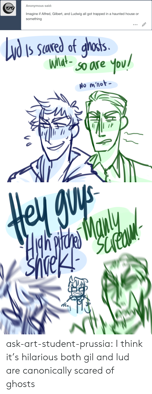 haunted: Anonymous said:  Imagine if Alfred, Gilbert, and Ludwig all got trapped in a haunted house or  something   Nd  S Sared of ghosts.  What-  SO are  You!  No m'not   Hgh pitde Manly ask-art-student-prussia:  I think it's hilarious both gil and lud are canonically scared of ghosts