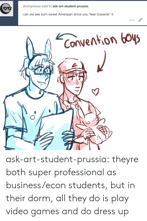 """Lean, Target, and Tumblr: Anonymous said to ask-art-student-prussia:  can we see sum sweet Ameripan since you """"lean towards* it   Convention boys ask-art-student-prussia:  theyre both super professional as business/econ students, but in their dorm, all they do is play video games and do dress up"""
