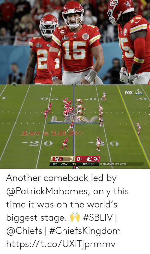 Chiefs: Another comeback led by @PatrickMahomes, only this time it was on the world's biggest stage. 🙌   #SBLIV | @Chiefs | #ChiefsKingdom https://t.co/UXiTjprmmv
