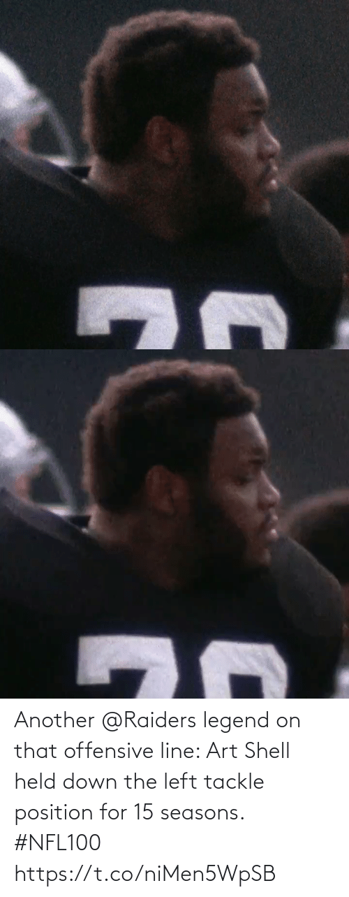 Offensive Line: Another @Raiders legend on that offensive line: Art Shell held down the left tackle position for 15 seasons. #NFL100 https://t.co/niMen5WpSB
