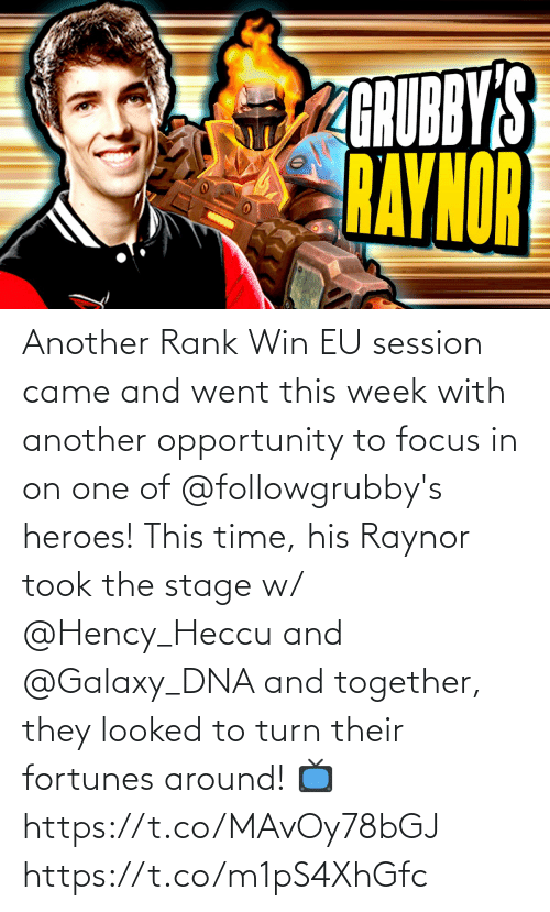 their: Another Rank Win EU session came and went this week with another opportunity to focus in on one of @followgrubby's heroes!  This time, his Raynor took the stage w/ @Hency_Heccu and @Galaxy_DNA and together, they looked to turn their fortunes around!  📺https://t.co/MAvOy78bGJ https://t.co/m1pS4XhGfc
