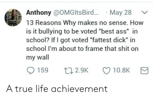 "fattest: Anthony @OMGltsBird...May 28  13 Reasons Why makes no sense. How  is it bullying to be voted ""best ass"" in  school? If I got voted ""fattest dick"" in  school I'm about to frame that shit on  my wall  0159 t 2.9K 10.8K A true life achievement"