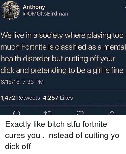 Bitch, Stfu, and Too Much: Anthony  OOMGltsBirdman  We live in a society where playing too  much Fortnite is classified as a mental  health disorder but cutting off your  dick and pretending to be a girl is fine  6/18/18, 7:33 PM  1,472 Retweets 4,257 Likes Exactly like bitch stfu fortnite cures you , instead of cutting yo dick off