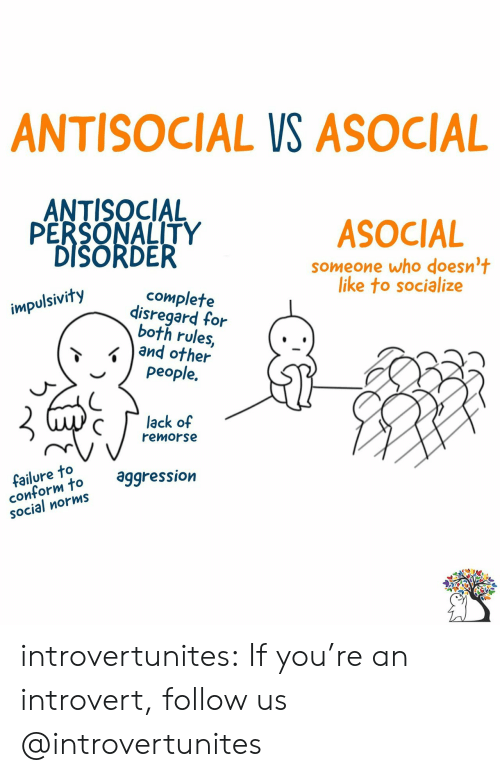 norms: ANTISOCIAL VS ASOCIAL  ANTISOCIAL  PERSONALITY  DISORDER  ASOCIAL  someone who doesn't  like to socialize  complete  disregard for  both rules,  and other  people.  impulsivity  lack of  remorse  failure to  conform to  SOcial norms  aggression introvertunites:  If you're an introvert, follow us @introvertunites