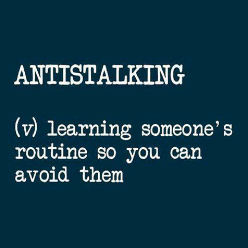 Can, Them, and You: ANTISTALKING  (v) learning someone's  routine so you can  avoid them