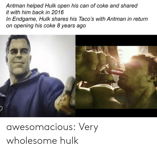 In 2016: Antman helped Hulk open his can of coke and shared  it with him back in 2016  In Endgame, Hulk shares his Taco's with Antman in return  on opening his coke 8 years ago awesomacious:  Very wholesome hulk