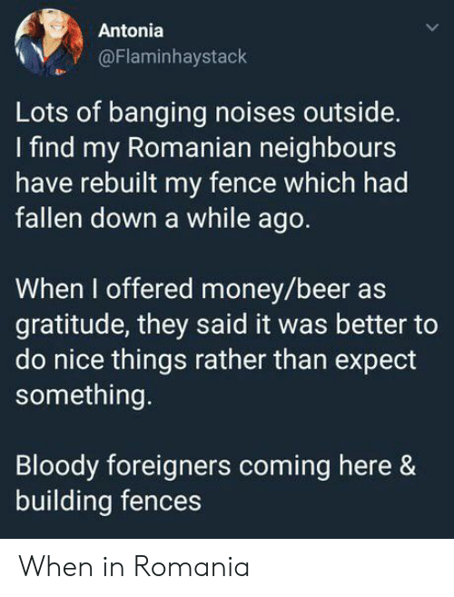 Beer, Money, and Banging: Antonia  @Flaminhaystack  Lots of banging noises outside.  find my Romanian neighbours  have rebuilt my fence which had  fallen down a while ago.  When I offered money/beer as  gratitude, they said it was better to  do nice things rather than expect  something.  Bloody foreigners coming here &  building fences When in Romania