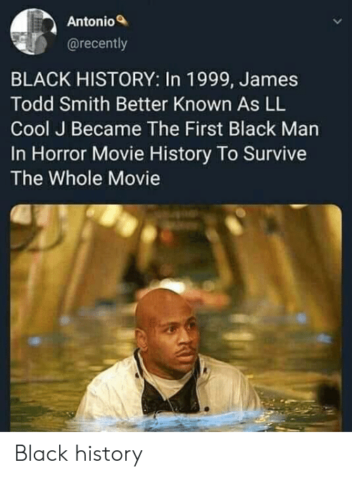 todd: Antonio  @recently  BLACK HISTORY: In 1999, James  Todd Smith Better Known As LL  Cool J Became The First Black Man  In Horror Movie History To Survive  The Whole Movie Black history