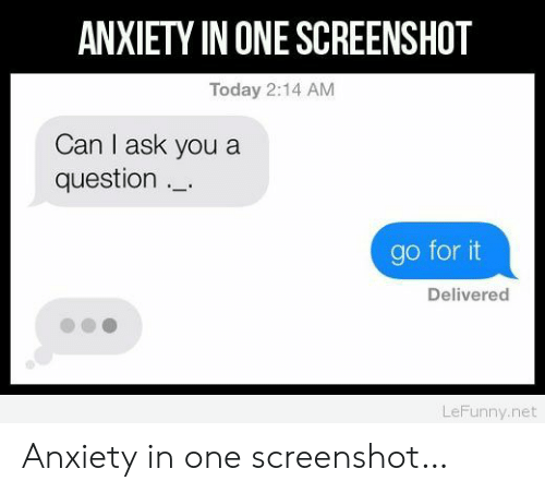 Anxiety, Today, and Ask: ANXIETY IN ONE SCREENSHOT  Today 2:14 AM  Can I ask you a  question  go for it  Delivered  LeFunny.net Anxiety in one screenshot…