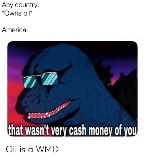 America, Money, and Cash Money: Any country:  *Owns oil*  America:  that wasn't very cash money of vou Oil is a WMD
