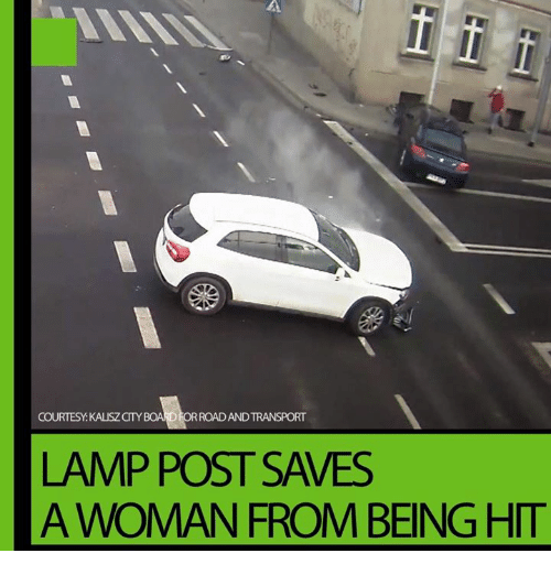Dank, 🤖, and Lamp: ANY  COURTESY KAUSZCTY  RCADANDTRANSPORT  LAMP POST SAVES  A WOMAN FROM BEING HIT