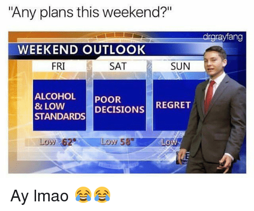 "regretful: ""Any plans this weekend?""  drgrayfang  WEEKEND OUTLOOK  FRI  SAT  SUN  ALCOHOL POOR  8 LOW  STANDARDS DECISIONS REGRET  Low 62 Ay lmao 😂😂"