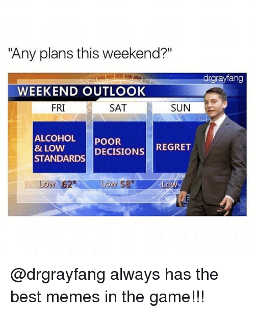 "regretful: ""Any plans this weekend?""  drgrayfang  WEEKEND OUTLOOK  FRI  SAT  SUN  ALCOHOL POOR  & LOW  STANDARDS DECISIONS REGRET  Low 62  0 @drgrayfang always has the best memes in the game!!!"
