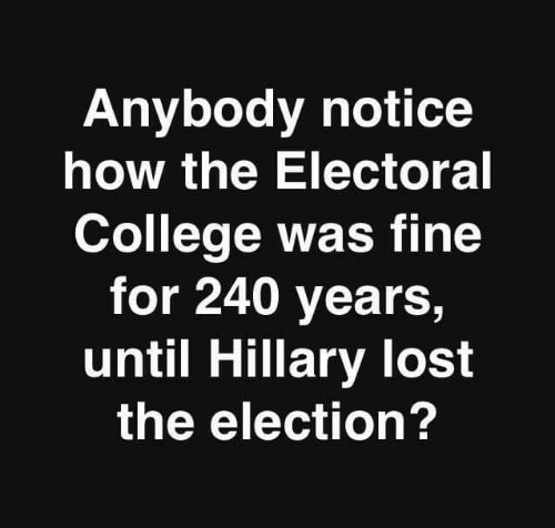 electoral college: Anybody notice  how the Electoral  College was fine  for 240 years,  until Hillary lost  the election?
