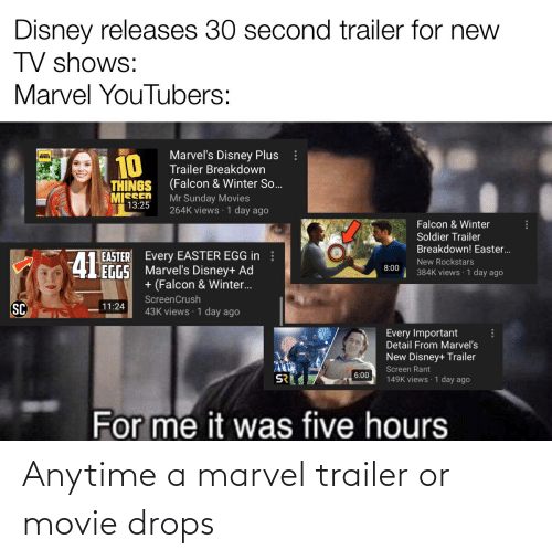 Drops: Anytime a marvel trailer or movie drops