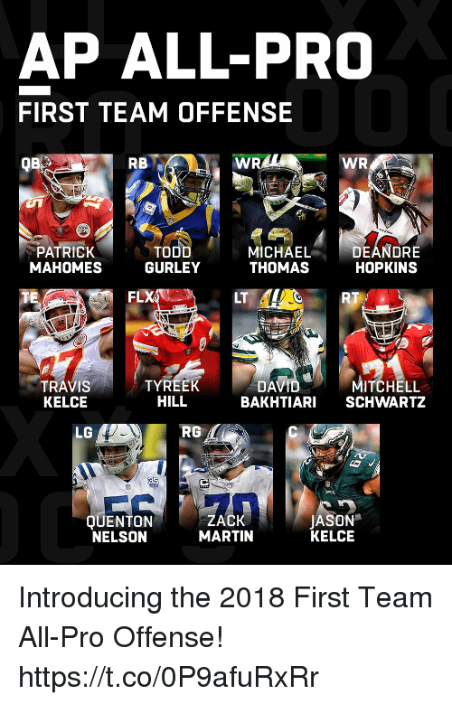 Schwartz: AP ALL-PRO  FIRST TEAM OFFENSE  QB  RB  PATRICK  MAHOMES  TO  GURLEY  MICHAELDEANDRE  THOMAS HOPKINS  FLX  LT  RT  TRAVIS  KELCE  TYREEK  HILL  DAVIDMITCHELL  BAKHTIARI SCHWARTZ  LG  RG  QUENTON  NELSON  ZACK  MARTIN  JASON  KELCE Introducing the 2018 First Team All-Pro Offense! https://t.co/0P9afuRxRr