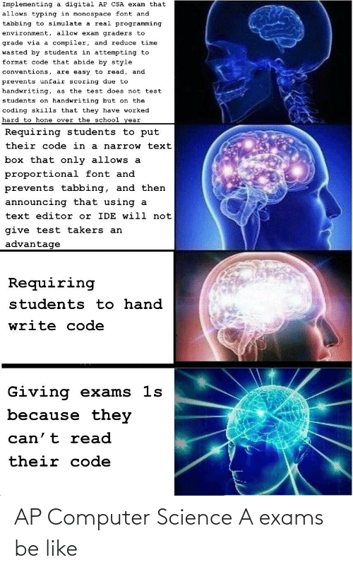 exams: AP Computer Science A exams be like