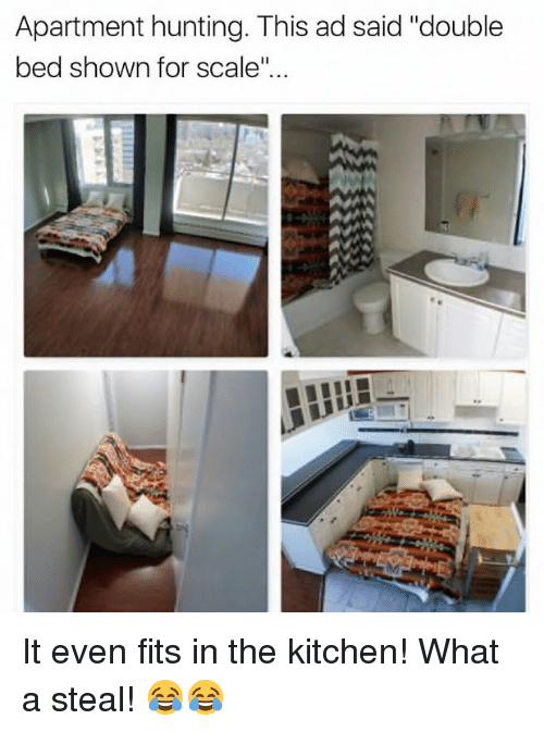 """For Scale: Apartment hunting. This ad said """"double  bed shown for scale"""" It even fits in the kitchen! What a steal! 😂😂"""