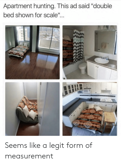 """For Scale: Apartment hunting. This ad said """"double  bed shown for scale"""".. Seems like a legit form of measurement"""